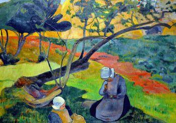 Landscape with Two Breton Women, Gauguin