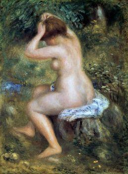 Seated nude putting her hair, Auguste Renoir