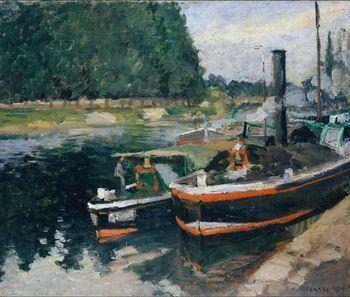 Barges at Pontoise, Camille Pissarro