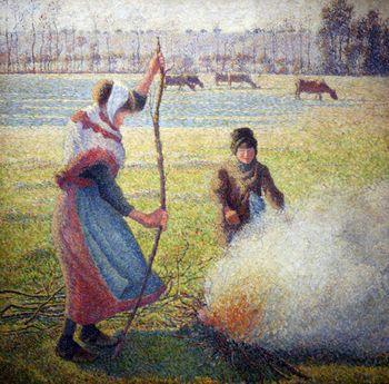 Peasant girl lighting a fire, Camille Pissarro