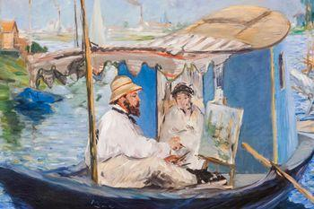 Monet painting in his Studio Boat, Edouard Manet, Manet