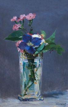 Pinks and Clematis in a Crystal Vase, Manet
