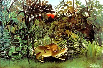 The Hungry Lion Throws Itself on the Antelope, Rousseau