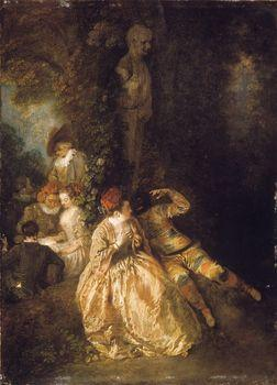 Harlequin and Columbine, Watteau